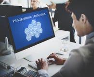 Έννοια λογισμικού υπεύθυνων για την ανάπτυξη κωδικοποίησης γλώσσας προγραμματισμού Στοκ φωτογραφία με δικαίωμα ελεύθερης χρήσης