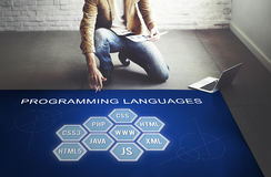 Έννοια λογισμικού υπεύθυνων για την ανάπτυξη κωδικοποίησης γλώσσας προγραμματισμού Στοκ Εικόνα