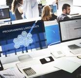 Έννοια λογισμικού υπεύθυνων για την ανάπτυξη κωδικοποίησης γλώσσας προγραμματισμού Στοκ Φωτογραφία