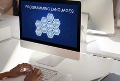 Έννοια λογισμικού υπεύθυνων για την ανάπτυξη κωδικοποίησης γλώσσας προγραμματισμού Στοκ εικόνα με δικαίωμα ελεύθερης χρήσης