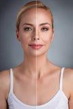 Έννοια ομορφιάς, πριν και μετά στοκ εικόνες με δικαίωμα ελεύθερης χρήσης