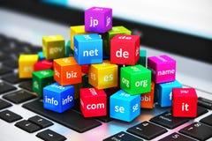 Έννοια ονομάτων Διαδικτύου και περιοχών Στοκ Εικόνα