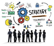 Έννοια οράματος αύξησης ομαδικής εργασίας τακτικής λύσης στρατηγικής Στοκ Εικόνα