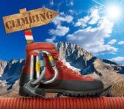 Έννοια ορειβασίας Στοκ εικόνα με δικαίωμα ελεύθερης χρήσης