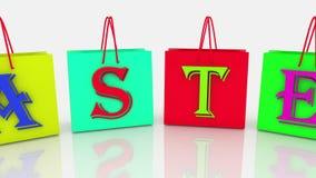 Έννοια Πάσχας στις ζωηρόχρωμες τσάντες αγορών διανυσματική απεικόνιση