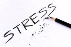Έννοια πίεσης Πίεση λέξης που γράφεται στη Λευκή Βίβλο με το σπασμένο μολύβι Στοκ Φωτογραφία