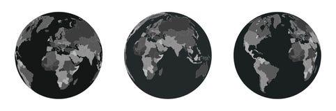 Έννοια παγκόσμιας δύναμης & ασφάλειας Σύνολο παγκόσμιων χαρτών διανυσματική απεικόνιση