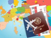 Έννοια παγκόσμιου ταξιδιού Διανυσματική απεικόνιση με το χάρτη Στοκ εικόνες με δικαίωμα ελεύθερης χρήσης