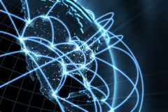 Έννοια παγκόσμιων δικτύων - Αμερική Στοκ εικόνες με δικαίωμα ελεύθερης χρήσης