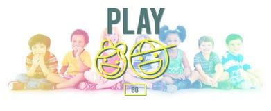 Έννοια παιδικών χαρών δραστηριότητας ευτυχίας διασκέδασης διασκέδασης παιχνιδιού απεικόνιση αποθεμάτων
