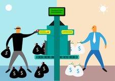 Έννοια παράνομων δραστηριοτήτων ξεπλύματος χρημάτων ή τράπεζας Τέχνη συνδετήρων Editable Στοκ Εικόνες