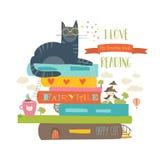 Έννοια παραμυθιού με το βιβλίο και τη γάτα Στοκ εικόνα με δικαίωμα ελεύθερης χρήσης
