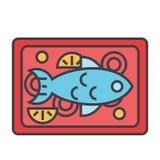 Έννοια πιάτων εστιατορίων ψαριών ελεύθερη απεικόνιση δικαιώματος
