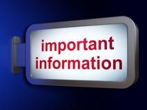 Έννοια πληροφοριών: Σημαντικές πληροφορίες για το υπόβαθρο πινάκων διαφημίσεων απεικόνιση αποθεμάτων