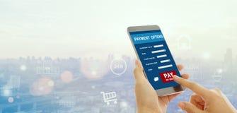 Έννοια πληρωμών Κινητό τραπεζικό δίκτυο Στοκ Εικόνα