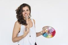 Έννοια πορτρέτου παλετών χρώματος ευτυχίας χαμόγελου γυναικών Στοκ Εικόνες