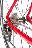 Έννοια ποδηλάτων Crankset και οπίσθια κασέτα με τη νέα αλυσίδα Στοκ φωτογραφίες με δικαίωμα ελεύθερης χρήσης