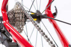 Έννοια ποδηλάτων Crankset και οπίσθια κασέτα με τη νέα αλυσίδα Στοκ φωτογραφία με δικαίωμα ελεύθερης χρήσης