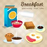 Έννοια προγευμάτων με τα φρέσκα τρόφιμα και τα επίπεδα εικονίδια ποτών καθορισμένα την απεικόνιση Απεικόνιση αποθεμάτων