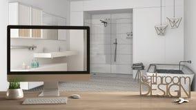 Έννοια προγράμματος σχεδιαστών αρχιτεκτόνων, ξύλινος πίνακας με τα κλειδιά, τρισδιάστατο σχέδιο και υπολογιστής γραφείου λουτρών  Στοκ εικόνες με δικαίωμα ελεύθερης χρήσης