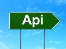 Έννοια προγραμματισμού: API στο υπόβαθρο οδικών σημαδιών Στοκ Φωτογραφίες