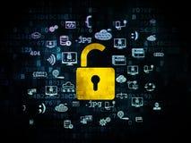 Έννοια προστασίας: Ανοιγμένο λουκέτο σε ψηφιακό Στοκ Φωτογραφίες
