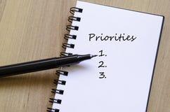 Έννοια προτεραιοτήτων Στοκ Εικόνες