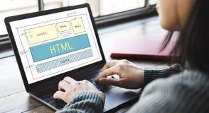 Έννοια προτύπων σχεδίου Ιστού HTML σχεδίου Στοκ Φωτογραφία