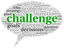 Έννοια πρόκλησης στο σύννεφο ετικεττών λέξης Στοκ εικόνες με δικαίωμα ελεύθερης χρήσης