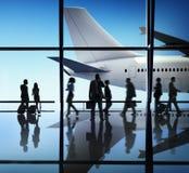 Έννοια πτήσης επιχειρησιακού ταξιδιού αερολιμένων αεροσκαφών αεροπλάνων Στοκ Φωτογραφία