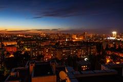 Έννοια πόλεων νύχτας, πολλά σύγχρονα κτήρια, Voronezh, εναέρια άποψη Στοκ φωτογραφίες με δικαίωμα ελεύθερης χρήσης