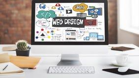 Έννοια πληροφοριών βάσεων δεδομένων σχεδιαγράμματος Blogging σχεδίου Ιστού Στοκ Εικόνα