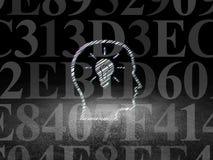 Έννοια πληροφοριών: Κεφάλι με Lightbulb στο grunge Στοκ εικόνες με δικαίωμα ελεύθερης χρήσης