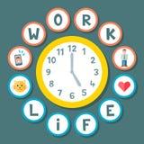 Έννοια ρολογιών ισορροπίας ζωής εργασίας Στοκ Εικόνα