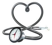 Έννοια ρολογιών καρδιών στηθοσκοπίων Στοκ εικόνα με δικαίωμα ελεύθερης χρήσης