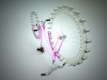 Έννοια ροδών ferris ποδηλάτων διανυσματική απεικόνιση