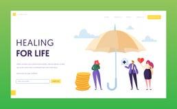 Έννοια σελίδων προσγείωσης οικογενειακής ιατρική ασφαλείας ζωής Ασφάλεια χαρακτήρα γυναικών κάτω από την ομπρέλα Ιατρική και υγει ελεύθερη απεικόνιση δικαιώματος