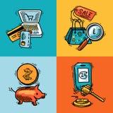 Έννοια σκίτσων σχεδίου ηλεκτρονικού εμπορίου Στοκ Εικόνα