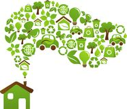 Έννοια σπιτιών Eco - πράσινα ενεργειακά εικονίδια Στοκ εικόνα με δικαίωμα ελεύθερης χρήσης