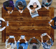 Έννοια στατιστικών επικοινωνίας συνεδρίασης της επιχειρησιακής ομάδας Στοκ Εικόνες