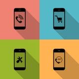 Έννοια στα διαφορετικά κινητά εικονίδια Phote. Διάνυσμα Στοκ Εικόνες