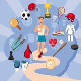 Έννοια στοιχείων αθλητικών τύπων, ύφος κινούμενων σχεδίων Στοκ Εικόνα