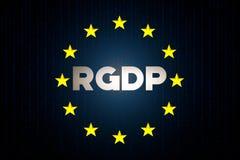 Έννοια στοιχείων ασφάλειας RGDP cyber με τη σημαία αστεριών της Ευρώπης με τη μήτρα σε ένα μπλε υπόβαθρο Στοκ εικόνες με δικαίωμα ελεύθερης χρήσης
