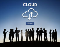 Έννοια στοιχείων τεχνολογίας αποθήκευσης δικτύων υπολογισμού σύννεφων στοκ εικόνες
