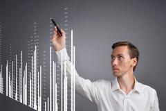 Έννοια στοιχείων χρηματοδότησης Άτομο που εργάζεται με Analytics Πληροφορίες γραφικών παραστάσεων διαγραμμάτων για την ψηφιακή οθ Στοκ Εικόνες