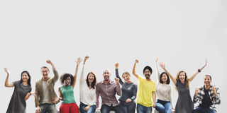 Έννοια στόχων επιτυχίας επιτεύγματος ομάδας φίλων ποικιλομορφίας στοκ εικόνα