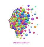 Έννοια συγκινήσεων, fulling κεφάλια με τους χρωματισμένους κύκλους, εσωτερική ευτυχία, διανυσματική απεικόνιση