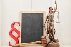 Έννοια συμβουλών νόμου απασχόλησης με Justitia και τον πίνακα στοκ φωτογραφία
