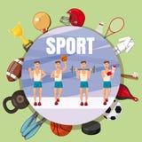 Έννοια συμβόλων αθλητικών τμημάτων, ύφος κινούμενων σχεδίων Στοκ Εικόνες