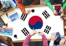 Έννοια συνεδρίασης της επιχειρησιακής ομάδας εθνικών σημαιών της Νότιας Κορέας Στοκ Εικόνες